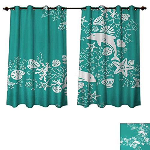 Sea Animals Blackout Curtains Panels for Bedroom Dolphins Flowers Sea Life Floral Pattern Starfish Coral Seashell Wallpaper Decorative Curtains For Living Room Sea Green White W55 x L45 inch - Kichler Green