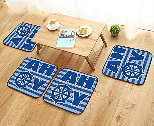 Nautical Chaise Wheel Lounge (Leighhome Anti-Skid Chair Cushions a Boy Ahoy Written with Nautical Wheel Striped Nursery Wall Art Decor Blue Health is Convenient W19.5 x L19.5/4PCS Set)