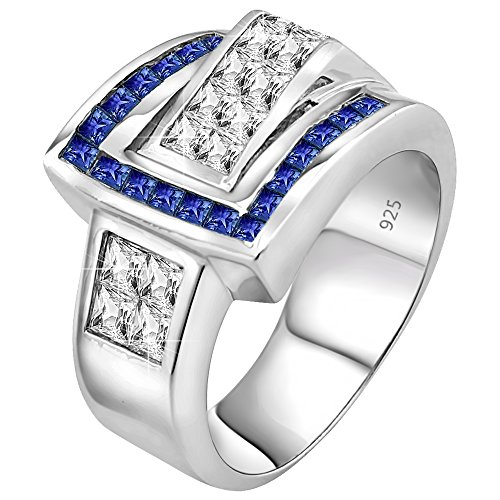 Men's Sterling Silver .925 Ring Featuring 27 Blue Channel Set and White Invisible Set Cubic Zirconia (CZ) Stones, Platinum Plated. Size, - Invisible Mens Set