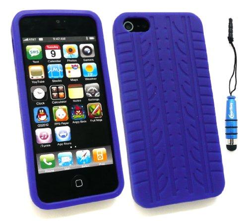 Emartbuy ® Pack Stylet Pour Apple Iphone 5 Mini Metallic Bleu Stylus + Tyre Tread Silicon Skin Cover / Case Bleu + Protecteur D'Écran Lcd