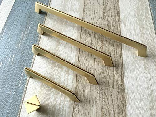 Mercury_Group, tiradores retro antiguos, 1 pieza x 9,5 cm, 5 pulgadas, 6,25 pulgadas, 10 pulgadas, tirador de cajón, pomo dorado cepillado 96 128 160 256: Amazon.es: Bricolaje y herramientas