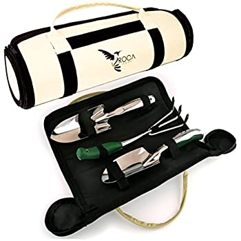 Superior Garden Tools Set with Trowel, Transplanter and Rake by ROCA Home. Great Gardening Gifts. Garden Tools Case Included and Gardening Guide.