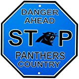Fremont Die NFL Carolina Panthers Stop Sign, 12″ x 12″, Multicolor