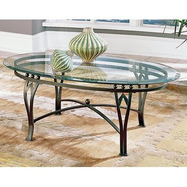 Steve Silver Madrid Cocktail Table w Glass Top w Antiqued Pe