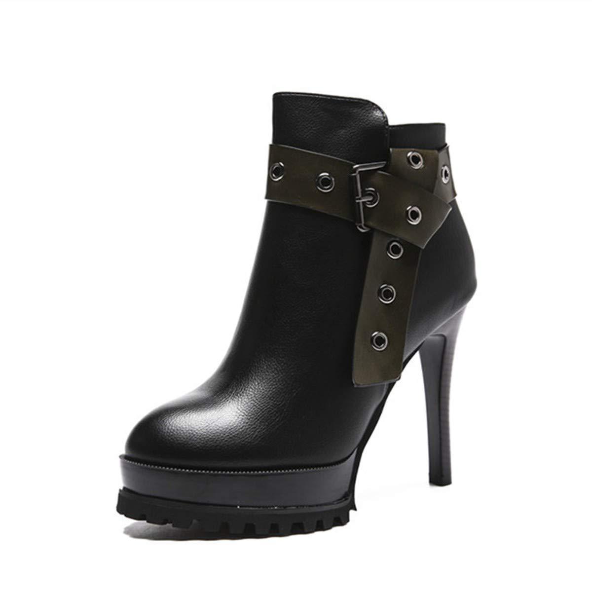 LBTSQ-Martin Stiefel Damenschuhe Schnalle 12Cm Wasserdichte Plattform Hochhackige Schuhe Kurze Stiefel Dünn Schuhe Mode.