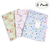 Y-Step 3 Pieces Floral Printed Accordion Document File Folder Expanding Letter Organizer 8 Pockets Children's Day Gift