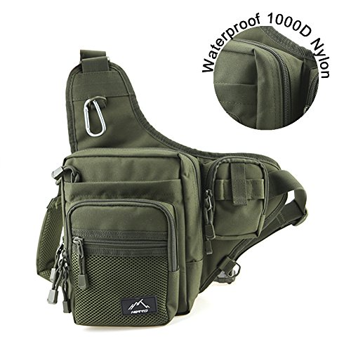Hetto Waterproof Fishing Tackle Bag Backpack – Sports Sling Shoulder Crossbody Chest Nylon Bag Pack Outdoor Sports Army Green