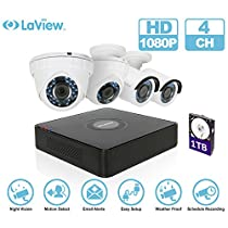 LaView 1080P HD 4 Cameras 4CH Security System DVR with 1TB HDD 2MP Mix Cam Surveillance Kit