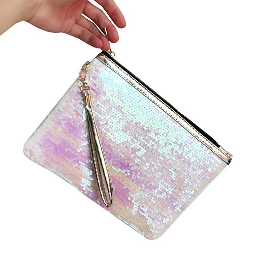 ROOSSI Mermaid Sequins Cosmetic Bag Bling Clutch Handbag Evening Clutch Envelope Bag Zipper Makeup Pouch White (Clutch Sequin Mesh)