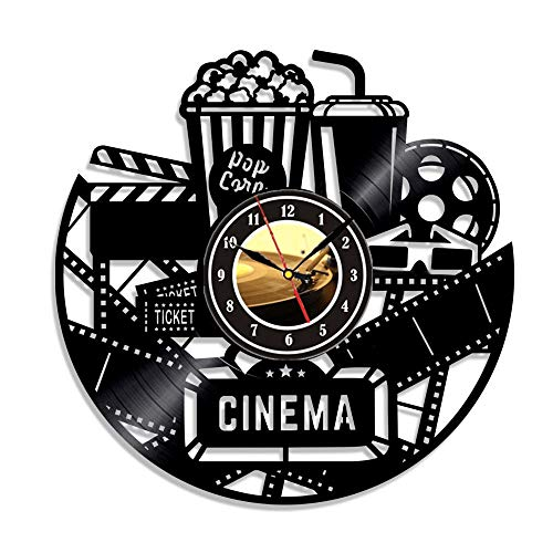 Lovers Movie Gifts - Home Theater Cinema and Popcorn Vinyl Record Wall Clock Movie Film Time Clock Watch Room Wall Decor Wall Art Gift for Movie Lover Gift Idea for a Best Friend