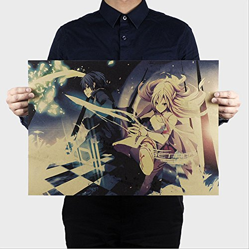 Fangeplus(R)Sword Art Online Japanese Classic Cartoon Animation Poster Antique Vintage Old Style Decorative Poster Print Wall Coffee Shop Bar Decor Decals 20.0''x13.9'' Antique Japanese Sword