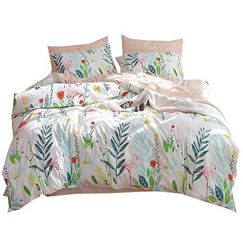 Cotton Floral Kids Girls Duvet Cover Set Queen Fresh Flower Birds Leaves Print Full Bedding Set Reversible Wave Striped Duvet Comforter Cover Set for Teens Children Adults Full Queen Bed from AMWAN