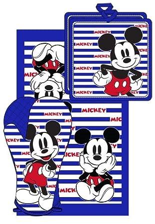 Disney Mickey Mouse Stripes - Juego de toallas de cocina (3 unidades), color azul y blanco: Amazon.es: Hogar