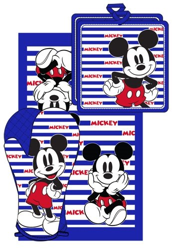 Disney Oven Mitt towel 3 piece Kitchen Set Mickey Mouse Strips USA BLUE 3 Piece Kitchen Tea Towel
