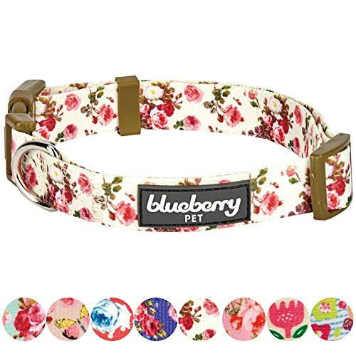 "Blueberry Pet 8 Patterns Spring Scent Inspired Pink Rose Print Ivory Dog Collar, Small, Neck 12""-16"", Adjustable Collars for Puppies & Small Dogs"