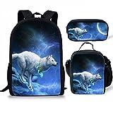 FOR U DESIGNS Children Backpack Set 3 Piece Wolf Head Lunch Handbag Cotton Pencil Case