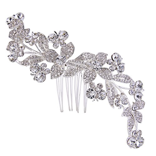 Butterfly Austrian Crystal - EVER FAITH Silver-Tone Austrian Crystal Gorgeous Butterfly Flower Leaves Hair Side Comb Clear
