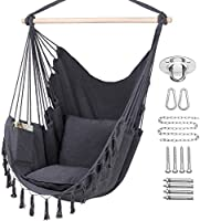 Y- STOP Hammock Chair Hanging Rope Swing, Max 330 Lbs, 2 Cushions Included, Large Macrame Hanging Chair with Pocket,...