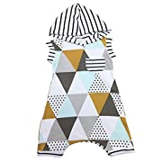 Nosii Baby Unisex Summer Hooded Striped Sleeveless Romper 2.5-3.5Y