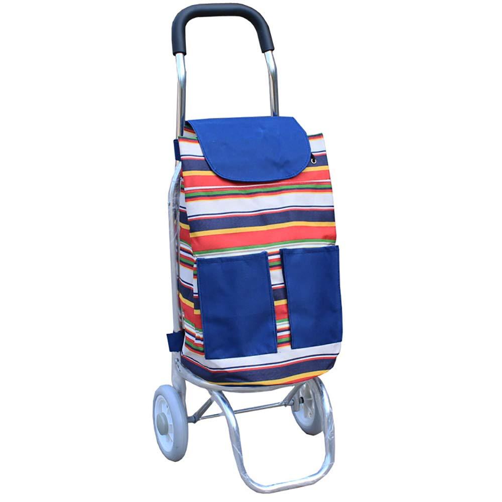 ショッピングキャ アルミ合金ポータブルショッピングカート折りたたみ食品を購入する小型引っ張り車手荷物カート (色 : D) B07KVV133S D