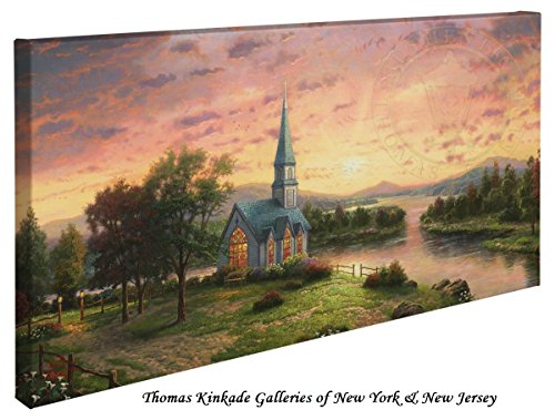 Sunrise Chapel - Thomas Kinkade 16'' X 31'' Gallery Wrapped Canvas by Thomas Kinkade wrapped canvas