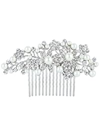 Ever Faith Bridal Silver-Tone Flower Simulated Pearl Clear Austrian Crystal Hair Comb N00413-1