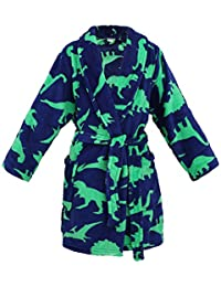 AbbyLexi Boys Girls Soft Plush Cover up with Long Sleeve Pockets, Dinosure, M