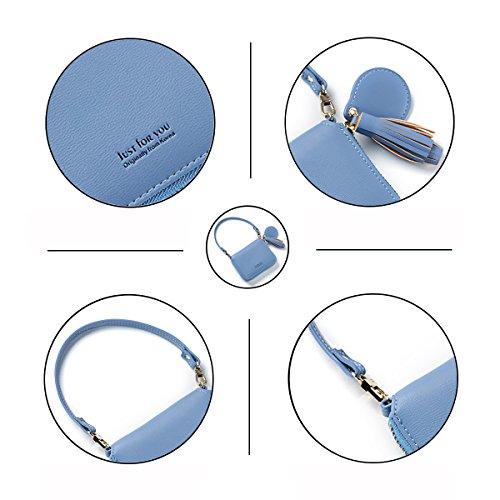 Tisdaini Femmes Mignon Bonbons Couleur Fermeture à glissière Portefeuille Portable PU Sac à Main en Cuir Frange Pochette Bleu
