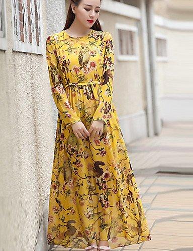 PU&PU Robe Aux femmes Swing Street Chic,Motif Animal Col Arrondi Midi Polyester , yellow-l , yellow-l