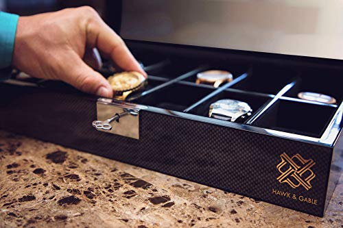 1cd64c688 Elegant 12 Slot Watch Box Organizer with Lock & Key | Luxury Jewelry  Display Case | Storage Cases for Watches for Men | Large, Glass Lid |  Oversized Carbon ...