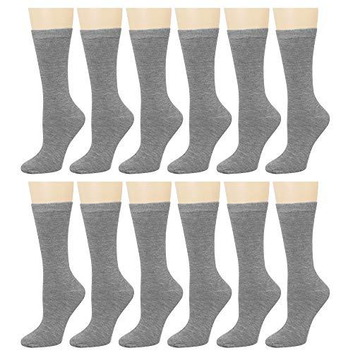 12 Pairs Women's Cotton Crew Socks Assorted Colors - Crew Uniform