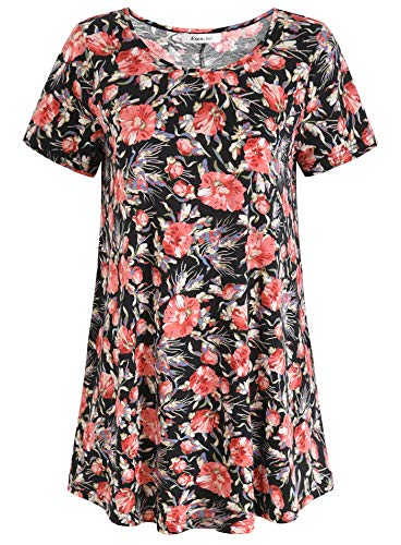 Esenchel Women's Short Sleeve Patterned Tunic Top L Hot Floral (Tops Patterned)
