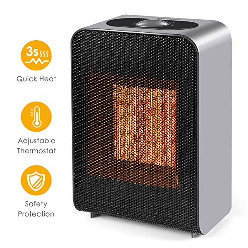 Set Conversion 86 (Ceramic Space Heater, Indoor 750W/1500W Ceramic Electric Heater for Home/Office/Bedroom with Adjustable Thermostat, Personal Desk Heater)
