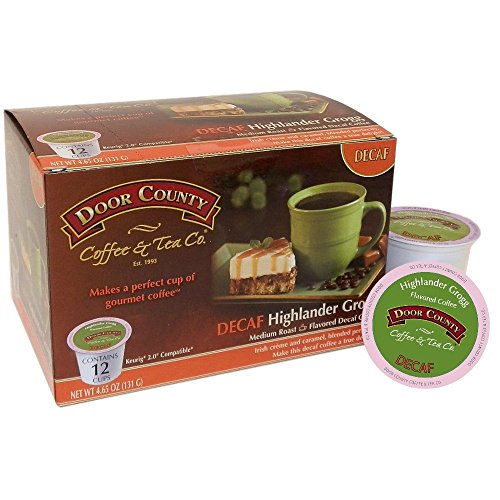 Door County Coffee Single Serve Cups for Keurig Brewers (Highlander Grogg Decaf, 36 Count)