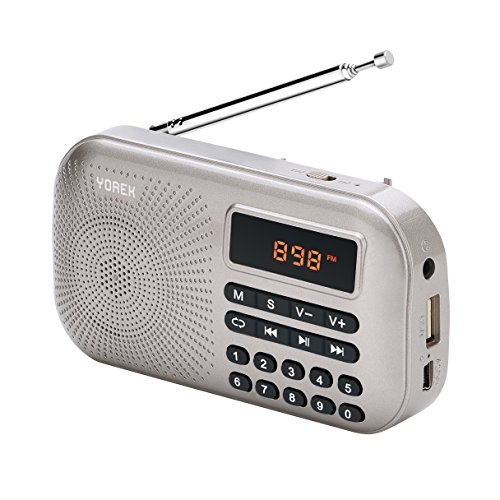 Yorek Portable Mini FM Radio Player, Digital Media Speaker, MP3 Music Player Support Micro Sd Card / USB Disk with LED Screen Display (Gold)