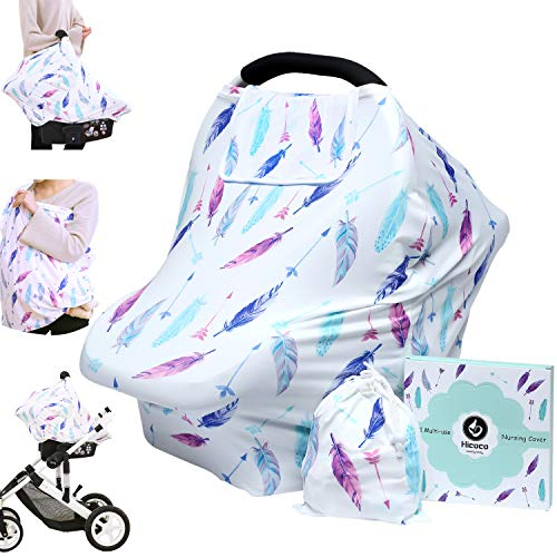 Hicoco Nursing Cover Carseat Canopy - Baby Breastfeeding Cover, Car Seat Covers for Babies, Multi Use Nursing Scarf, Infant Stroller Cover, Boys and Girls Shower Gifts (Feather) from Hicoco