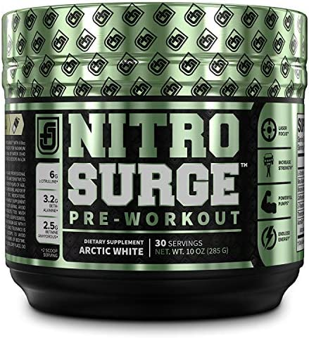 NITROSURGE Pre Workout Supplement - Energy Booster, Instant Strength Gains, Clear Focus, Intense Pumps - Nitric Oxide Booster & Powerful Preworkout Energy Powder - 30 Servings, Arctic White
