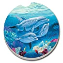 CounterArt Absorbent Stoneware Car Coaster, Dolphin Lovers