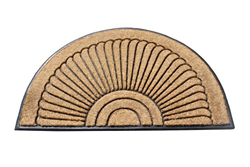 A1 Home Collections A1HOME200107-1 Sunburst Rubber and Coir Doormat with Large Wipe Area|, 30X48, (Doormat 30 X 48)