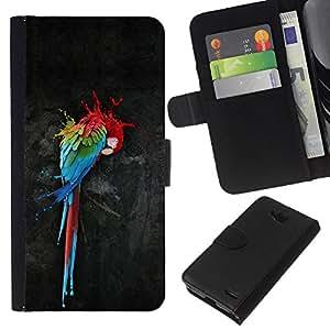 KingStore / Leather Etui en cuir / LG OPTIMUS L90 / Loro Arte Pintura colorida de la acuarela del arte del pájaro