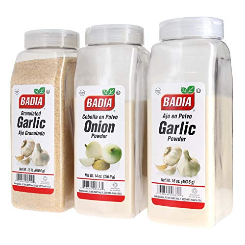 Badia Granulated Garlic, Garlic Powder, and Onion Powder Bundle (Set of 3) ()