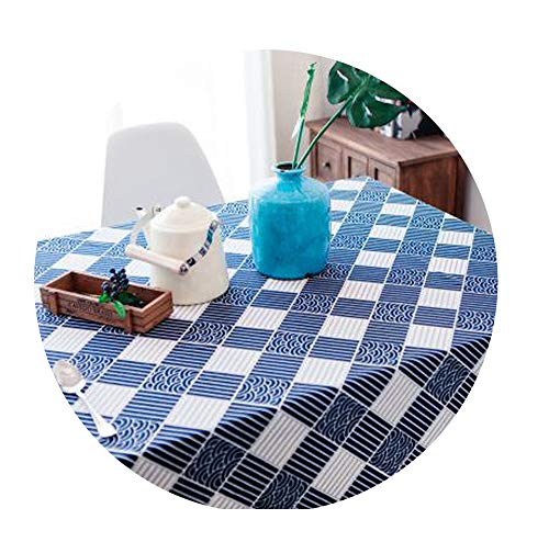 (DraFenn Table Cloth Linen Rural Square Tablecloths Rectangular Dinner Table Cover Coffee Table,Wave Plaid,140X140)