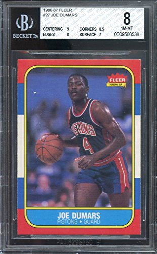 1986-87 fleer #27 JOE DUMARS detroit pistons rookie card BGS 8 (9 8.5 8 7) Graded Card
