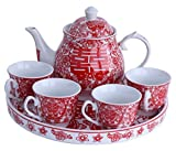 Greencherry Chinese Traditional Red Tea Set For Wedding Mandarin Duck Patten Double Xi with Base