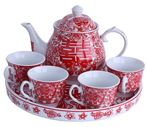 Greencherry Chinese Traditional Red Tea Set For Wedding Mandarin Duck Patten Double Xi with -