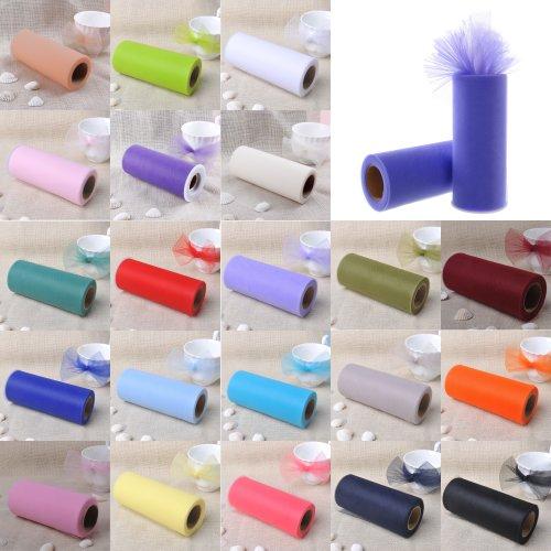 "Topwedding Tulle Fabric 1pcs Spools Roll 6"" X 25 Yard Bridal Ribbon Bow Gifts,Purple"