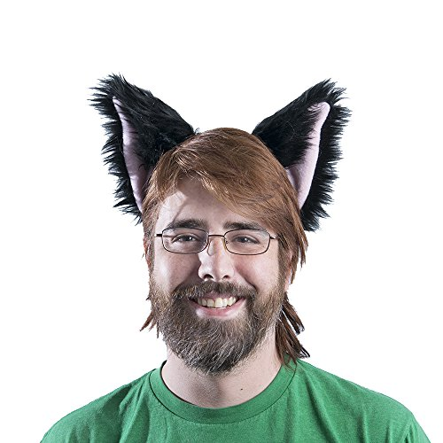 Pawstar canine Ear Headband Furry Puppy Dog Costume Ears - Black/Pink -