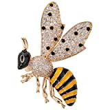 Szxc Jewelry Honey Bee Crystal Cubic-Zirconia Enamel Collection Accessories Brooch Pin Gift Women