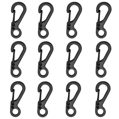 12pcs/Lot Black Mini SF Carabiners Spring Backpack Clasps EDC Keychain Carabiner for Climbing Camping Bottle Hooks Paracord Tactical Survival Gear by Ontrip® -