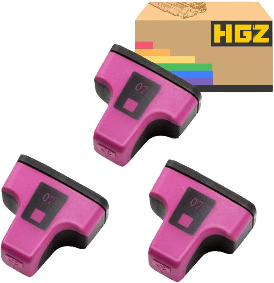 HGZ 3 Pack HP02 Color Remanufactured Ink Cartridge Replacement for HP 02 Q7964AN for HP PhotoSmart C7280 C6280 C5180 C6180 D7360 D7460 8250 C7200 Printers (3 Magenta)